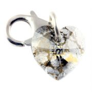 Swarovski Gold Patina Crystal Heart Clip on Charm Made with Swarovski Elements - 11mm Clasp